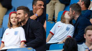 David Beckham kissed daughter Harper, 7, on the lips at the England football match