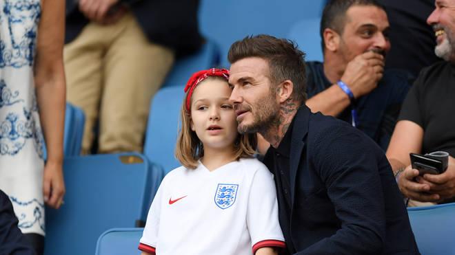 Harper showed she's inherited Girl Power in her England football shirt