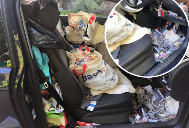 "Police have released images of ""Britain&squot;s messiest car"" after the driver failed to find the handbrake amongst the rubbish, causing a crash."