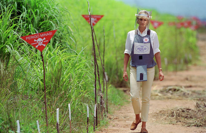 Diana, Princess of Wales, famously pictured in 1997 walking through an active minefield in Angola