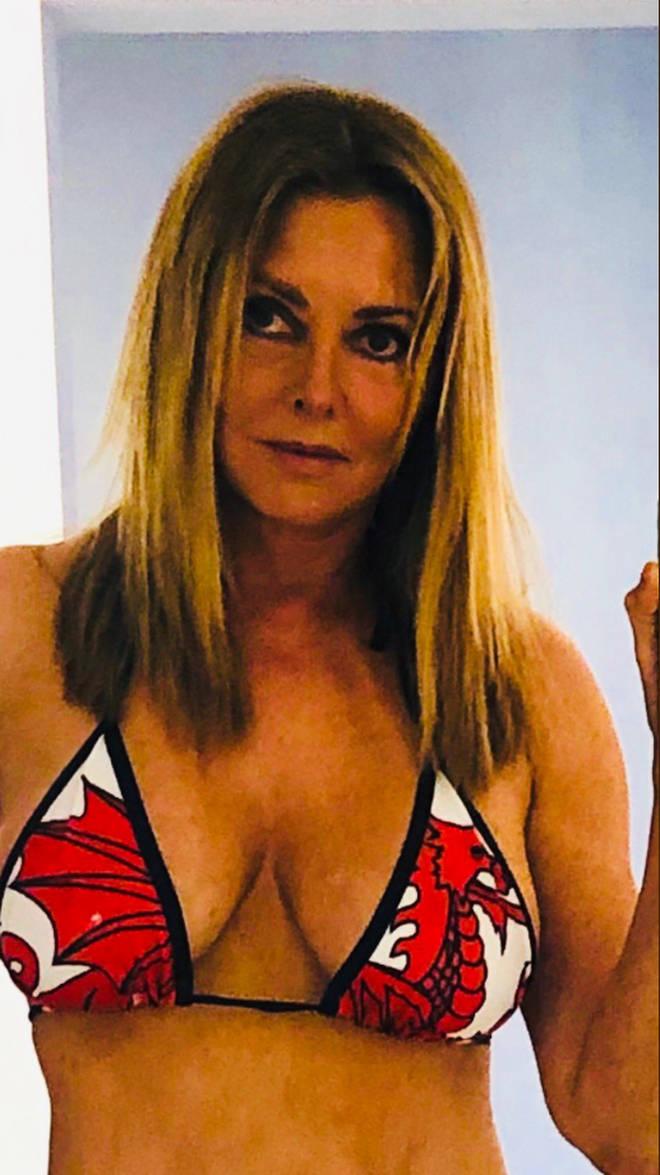 Carol donned a colourful bikini for a spot of sunbathing