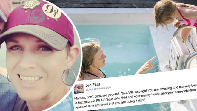 Woman calls out fellow mother who set up a fake 'fun' photoshoot at the pool with her daughter.