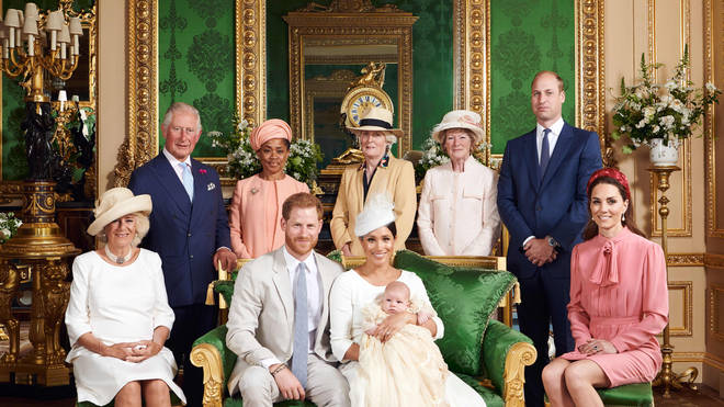 The family photo with Archie released by the Sussexes for the christening