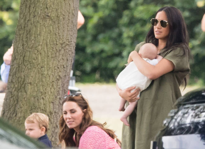 Meghan opted for a Khaki dress at the polo match