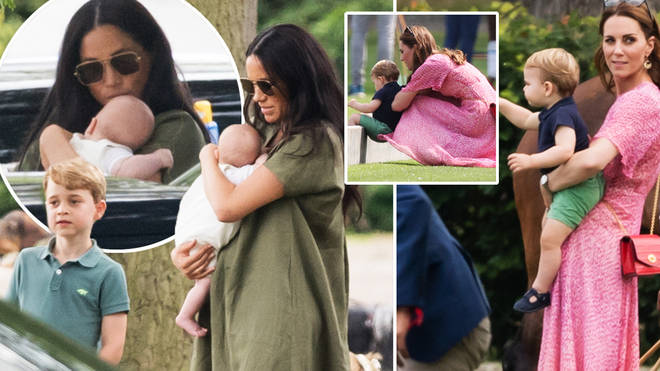 meghan markle kisses baby archie on the head as they watch prince harry play polo heart meghan markle kisses baby archie on the