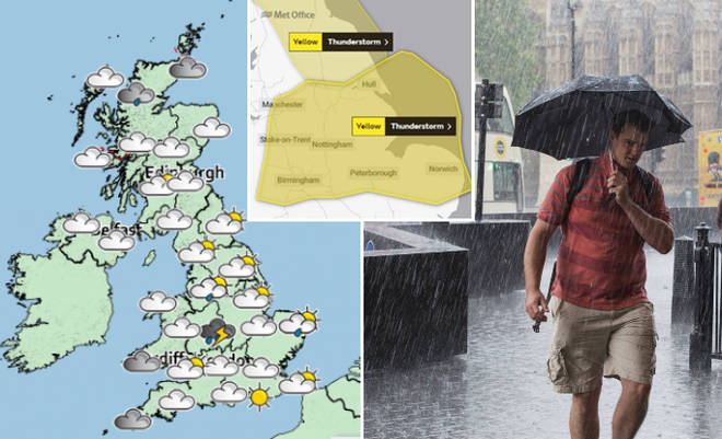 The Met Office is expecting rain to hit parts of Scotland and southern England.