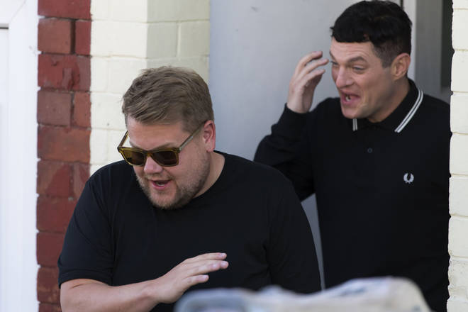 James Corden and Mat Horne laughed and joked as the comedy duo reunited for filming in Wales.