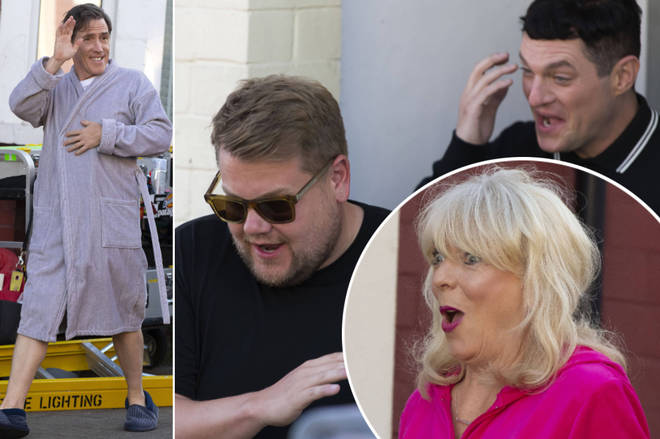 Sneak peek at the new Gavin and Stacey as James Corden and Ruth Jones start filming back in Barry Island, Wales.