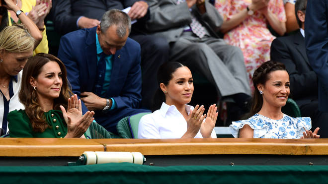 Kate Middleton, Meghan Markle and Pippa Middleton in the Royal Box at the Ladies' Singles Final at Wimbledon 2019.