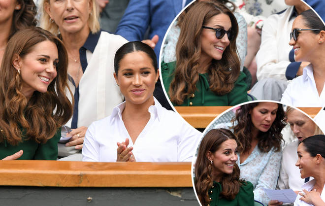 Kate Middleton and Meghan Markle put on a friendly display at the women's final at Wimbeldon.