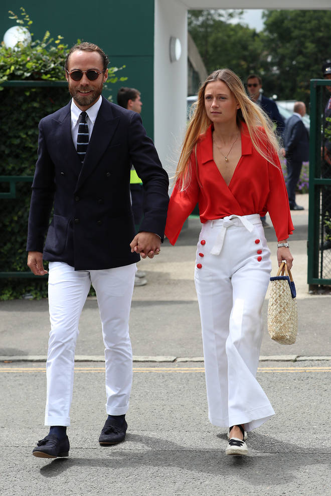 James Middleton attends the Men's Singles Finals with French girlfriend Alizee Thevenet.