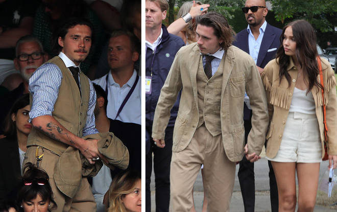 Brooklyn and his girlfriend Hana Cross wore beige outfits to the Wimbledon men's final