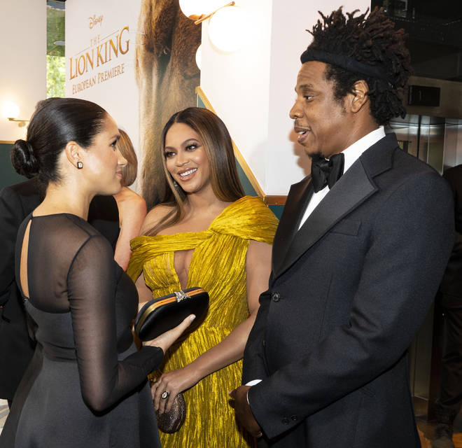 Meghan Markle meets Disney star Beyoncé and her husband Jay Z at The Lion King premiere.