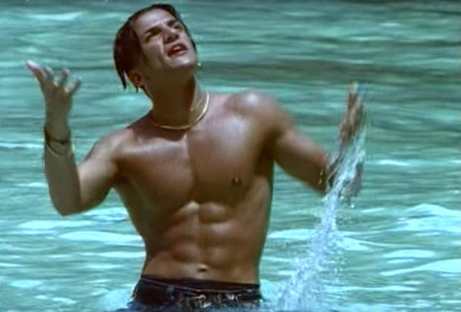 Peter Andre famously showcased his abs in the steamy video for Mysterious Girl.