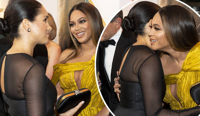 Beyoncé and Meghan Markle greeted each other like old friends at The Lion King premiere