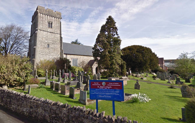 Baby Neil's christening took place at St Peter's Church in Peterston-super-Ely, Wales.
