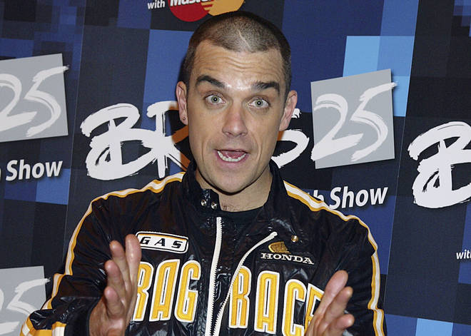Robbie Williams at the BRIT Awards 2005