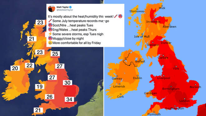 The blistering heat has been predicted to blow across the country in a stuffy Saharan blanket.
