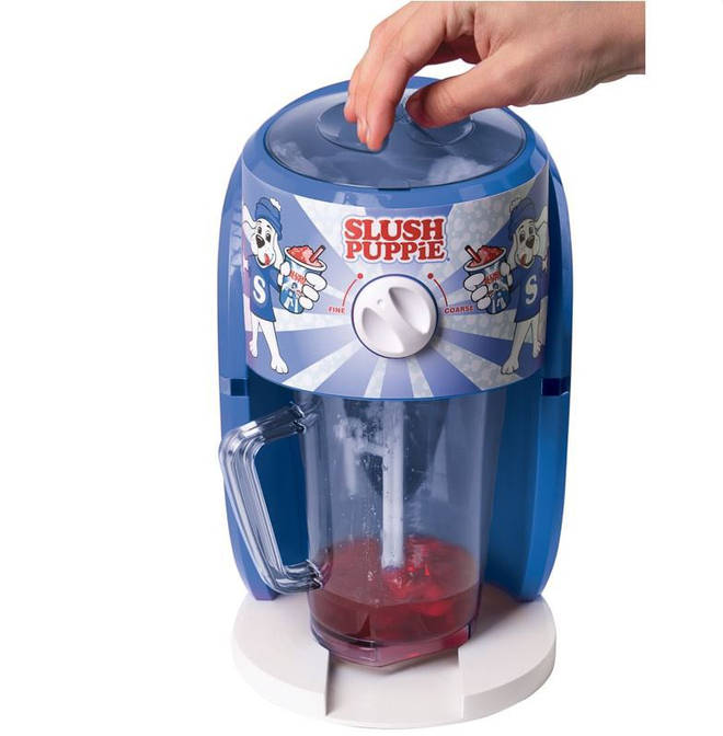 The blue and white small machine will make a generous 1.1l of slush with every go