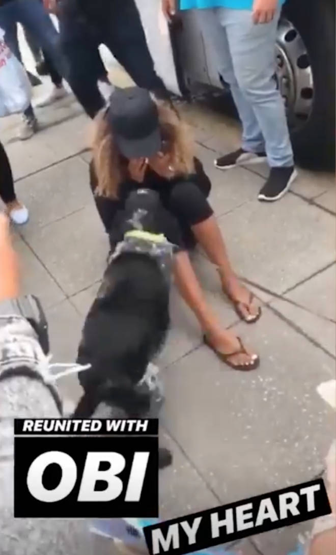Amber was overwhelmed as she was reunited with her beloved pet