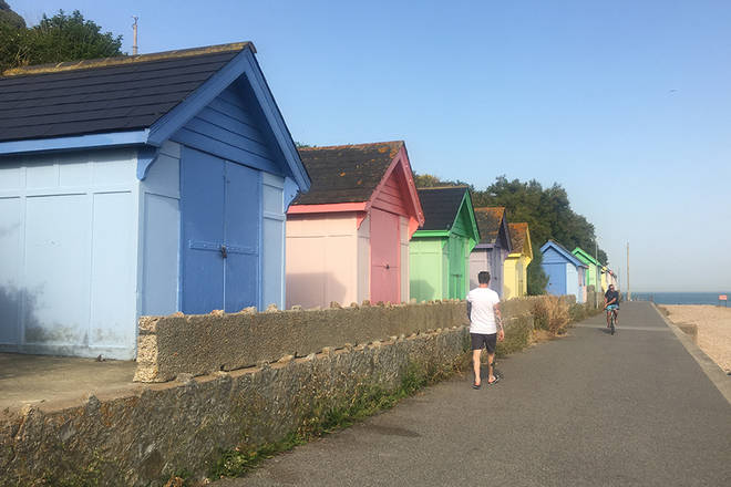 The coastal walk features several works of art, and cute wooden chalets