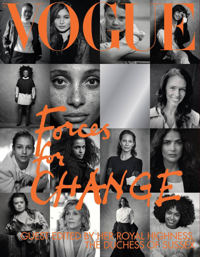 "The Duchess of Sussex and editor-in-chief Edward Enninful named the issue ""Force For Change"""