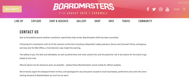 Boardmasters have removed all contact details from their website and replaced it with their statement