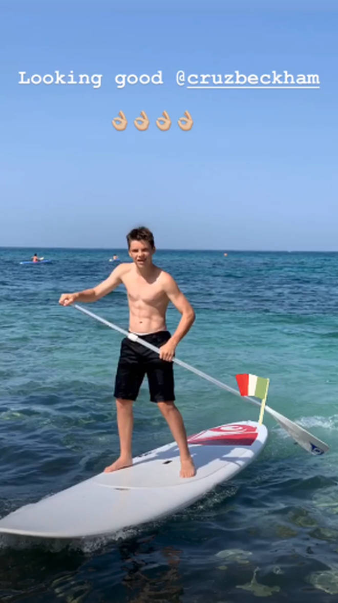 Cruz Beckham paddle boarded in Italy