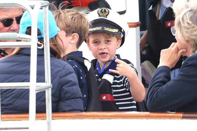 Prince George was joined by his grandfather Michael Middleton