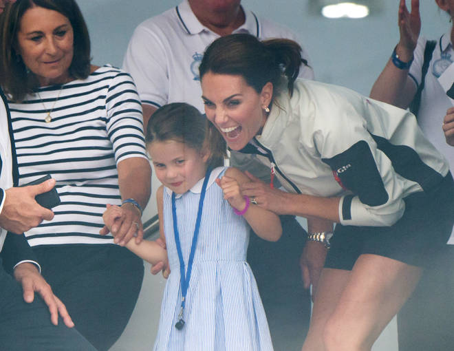 The Duchess of Cambridge laughed with her daughter after appearing to jokingly tell her off