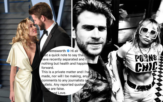 Liam Hemsworth has posted a lengthy message about his marriage split on Instagram