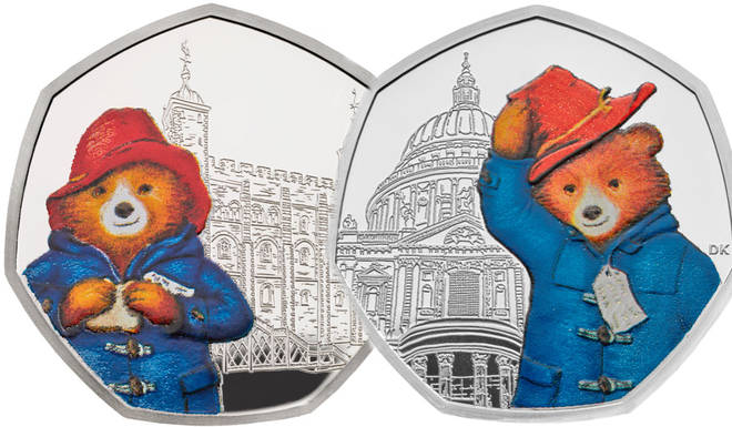 The two coins going into circulation show a brightly coloured Paddington, in his iconic blue coat and red hat
