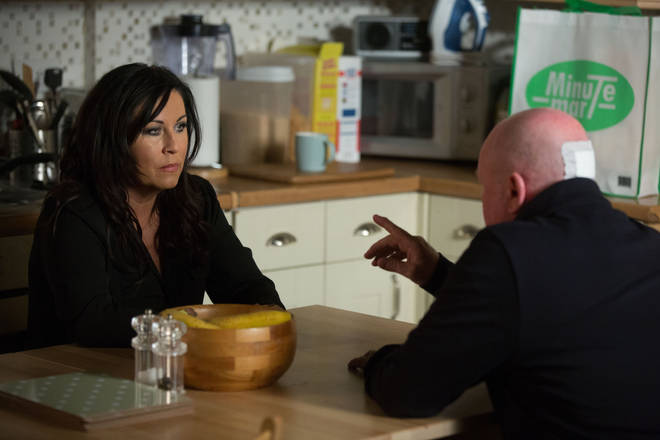 Phil confronts Kat Slater when he returns home