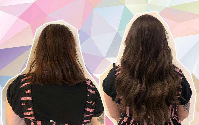The before and after of Great Lengths' keratin pre-bonded extensions