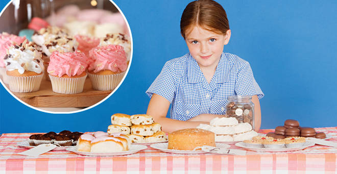 Schools could be banned from holding cake sales under new guidelines (stock images)