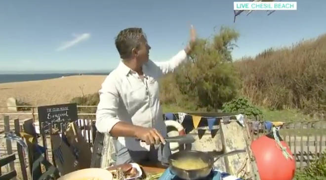 This Morning cooking section descends in to chaos as helicopter makes shock landing on set