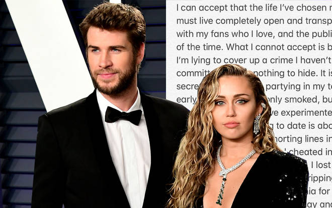 Miley's written a long explanation about hers and Liam's split