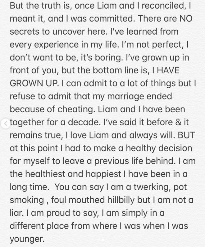 The second page of Miley's statement on her Instagram
