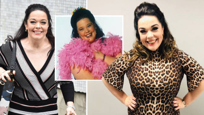 Soap star Lisa Riley gave fans a glimpse of Mandy Dingle's trademark leopard print outfit.