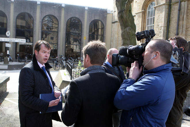 Steve Fulcher spoke to the media outside Wiltshire Police station in 2011