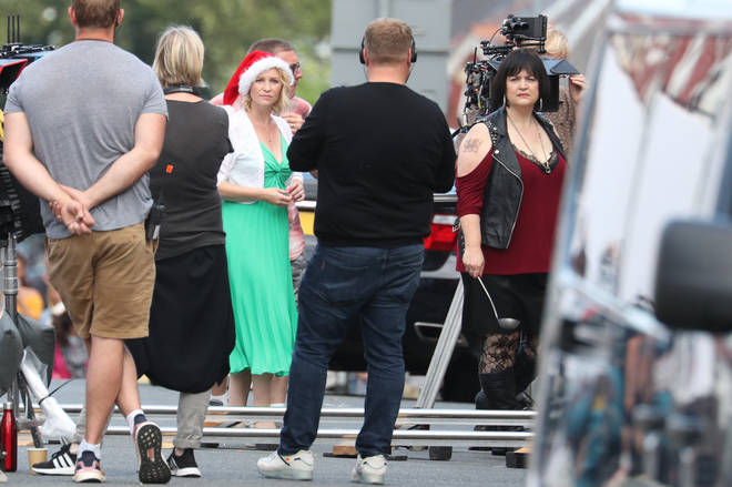 Ruth as Nessa and Joanna Page as Stacey spotted in Barry, South Wales filming the Christmas Reunion