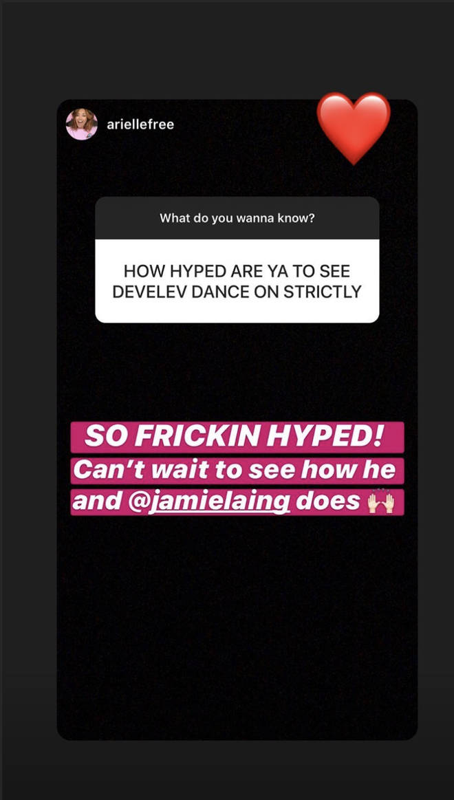 The MIC star re-posted Arielle Free saying she was excited to watch him on the show