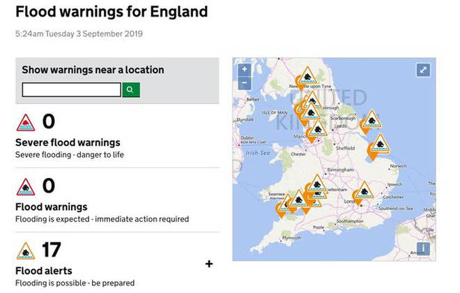 The Environment Agency has issues 17 warnings across England