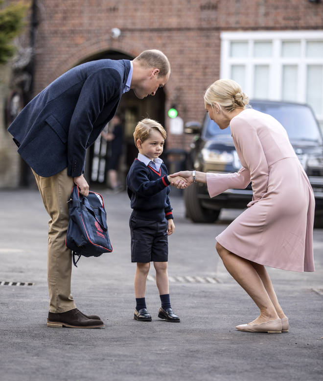 Prince William walked his son to the school, where he met the head of lower school at Thomas's Battersea