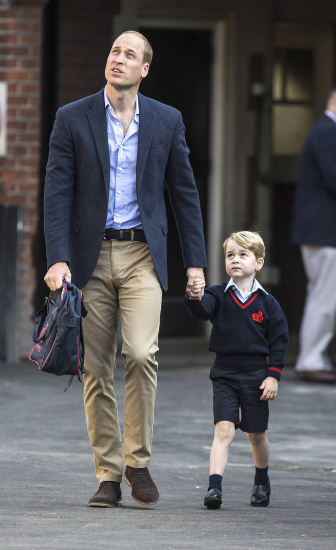 Prince William accompanied his eldest on his first day, while Kate was too sick to attend