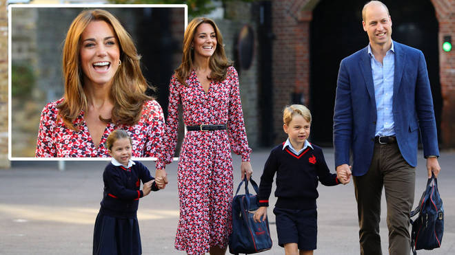 The Cambridge family walked together hand-in-hand as a sweet Charlotte and George looked excited for a new school year, dressed in their navy and red uniforms