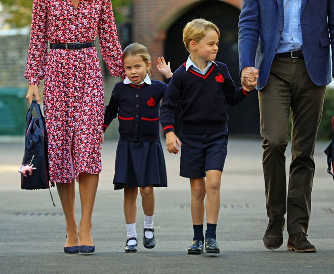 The Duke and Duchess of Cambridge joined Princess Charlotte and Prince George today as they dropped them off at Thomas's Battersea School.