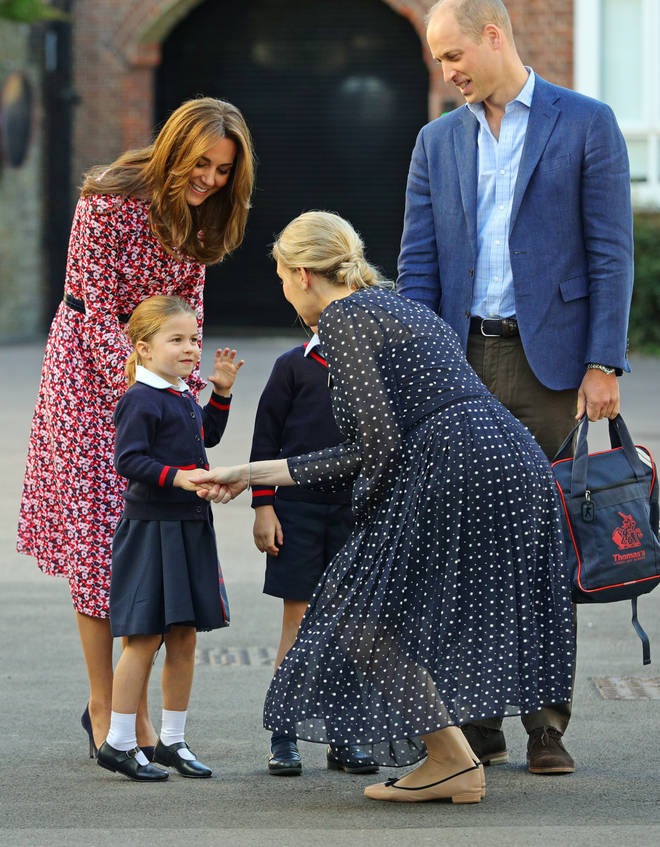 Princess Charlotte was greeted at the gates by the head of lower school Helen Haslem