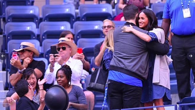Meghan Markle shares a hug with Serena's husband Alexis Ohanian