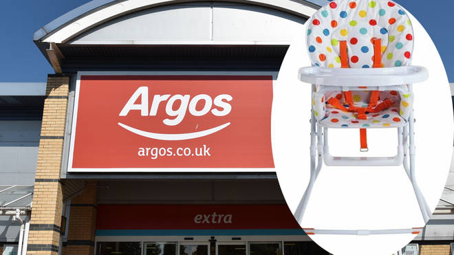 Argos have recalled the high chairs over safety concerns